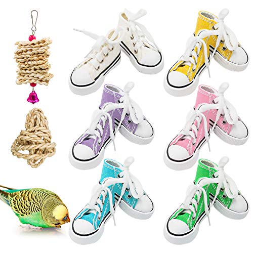 Bird Chewing Toys, 12 Pieces Parrot Sneakers Colorful Cotton Shredder Hanging Cage Bite Toys for Small Parakeets, Cockatiel, Conures, Finches, Budgie, Mynah, Finche, Love Birds,Dove, Parrotlet (H01)