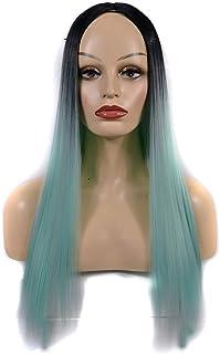 Yrattary 女性のための合成かつら黒髪の根緑の長いストレートの髪自然なパーティー用ウィッグ (Color : オレンジ, サイズ : 60cm)