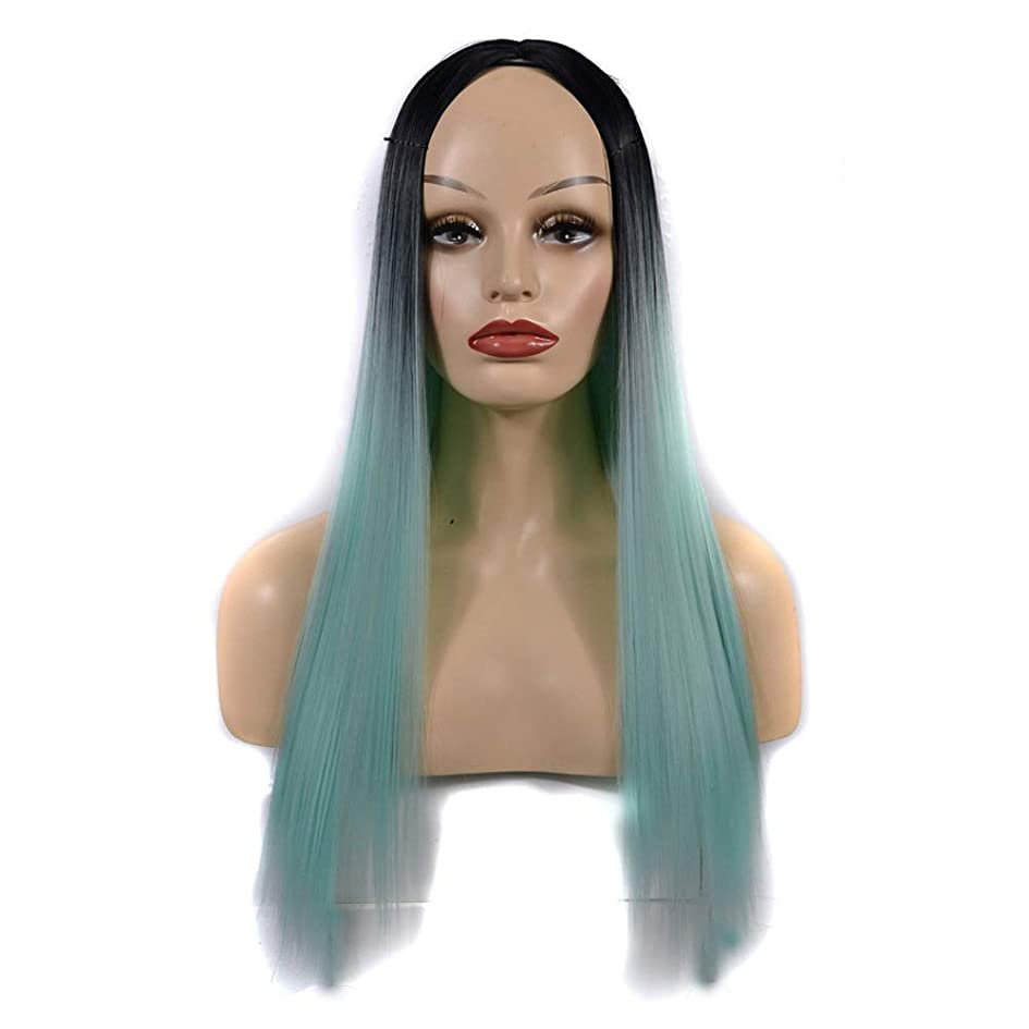 報復するゴールデン黒くするかつら 女性のための合成かつら黒髪の根緑の長いストレートの髪自然なパーティー用ウィッグ (色 : オレンジ, サイズ : 60cm)