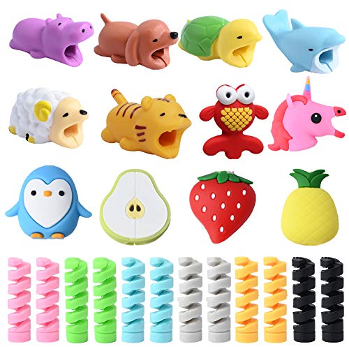24 Pcs Cable Protectors,Prevent Cable Break for iPhone/iPad/Airpods/iwatch,Cute Animal Fruit USB Charger Cable Saver and Spiral Spring-Shaped Wire Protector