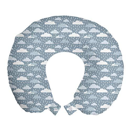 ABAKUHAUS Lluvia Cojín de Viaje para Soporte de Cuello, Las precipitaciones y Nubes hinchadas, de Espuma con Memoria Respirable y Cómoda, 30x30 cm, Bebé Azul Azul Gris