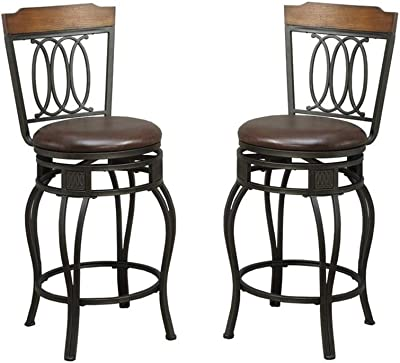 Amazon Com Poundex Pdex F1523 Bobkona Earline 24 Seat Height Swivel Bar Stool Brown Set Of 2 Furniture Decor