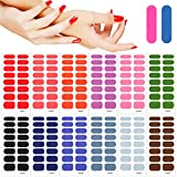 MWOOT 12 Fogli Adesivo Smalto per Unghie,Verniciato in Tinta Unita Unghie Adesivi Decalcomanie,Autoadesivo Nail Art Stickers per Manicure le Punte Decorazioni