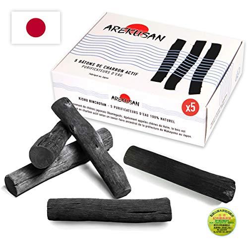 AREKUSAN - X5 Kishu Binchotan Charbon Actif de chêne Japonais Filtre à Eau du Robinet pour Carafe Gourde Alternative Bouteilles Plastique, zéro déchet Idée Cadeau écologique purificateur Bio