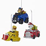 Kurt Adler 3 Assorted Paw Patrol Characters on Trucks Multiples Christmas Ornaments
