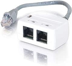 C2G Single Unit to Go 37133 2-Port RJ45 Splitter/Combiner Cable, Beige 6-Inch
