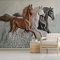 HGFHGD 写真壁画壁紙3D三次元レリーフ馬壁画寝室研究リビングルーム背景ウォールステッカーウォールアート