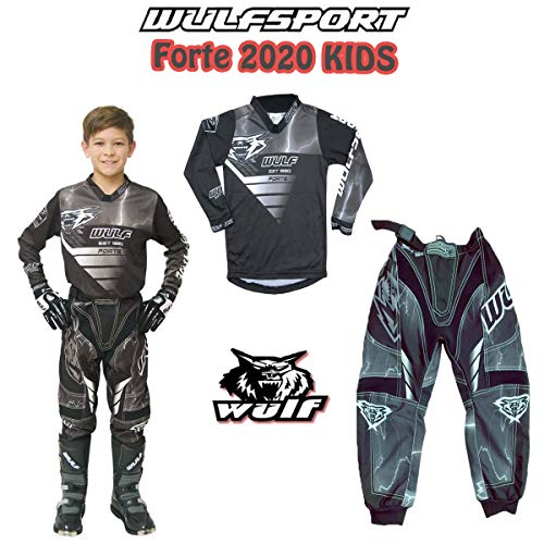 MOTORRADKOMBI Wulfsport Aztec 2019 Kinder Motorrad Anzug Motocross ATV Quad Cross Rennen MX Hose e Hemden Sport Bekleidung (Mehrere Farben) (Schwarz,5-7 Jahre, 22-Taille)