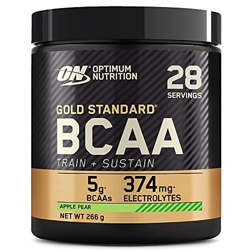 Optimum Nutrition Gold Standard BCAA Polvo, Suplementos Deportivos con Aminoacidos, Vitamina C, Zinc, Magnesio y Electrolitos, Manzana y Pera, 28 Porciones, 266g, Embalaje Puede Variar