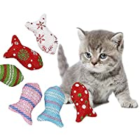 1PC Random Color Creative Cotton Fish Shape Pet Cat Kitten Chewing Cat Toys Catnip Stuffed Interactive Product Cat Supplies