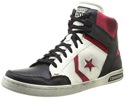 Converse Weapon HI Leather/Suede, Herren Sneaker, Mehrfarbig - Off White/Black/Red - Größe: EU 41