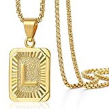 Trendsmax Initial Letter Pendant Necklace Mens Womens Capital Letter Yellow Gold Plated L Stainless Steel Box Chain 22inch