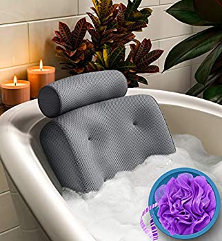 Everlasting Comfort Bath Pillow - Supports Head Neck and Back in Tub - Bathtub Cushion