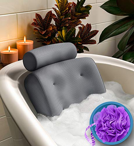 Everlasting Comfort Bathtub Bath Pillow - Spa Pillow with Back and Headrest Cushion - Hot Tub Pillow - Neck and Head Rest Support for Bath or Shower - Bath Stuff Accessories