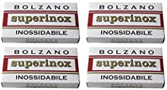 Bolzano - Superinox Inossidabile Double Edge Razor Blades made in Germany 4 Packs of 5 Blades per Pack for a Total of 20 Blades Check our Storefront to see the biggest selection of razor blades in the world with more than 100 different types availabl...