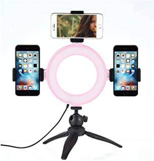 Hamkaw 6 Inch Led Ringlight with Tripod Stand and 3 Live Stream Phone Holder 11 Brightness Levels & 3 Light Modes Adjustable for YouTube Video, Makeup Application, Selfie Pictures