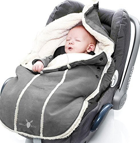 Wallaboo Fußsack, Universal für Babyschale, Autositz, z.B. für Maxi-Cosi, Römer, für Kinderwagen, Buggy oder Babybett, Farbe: Grau