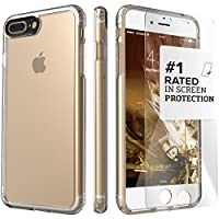 iPhone 8 Plus and 7 Plus Case, SaharaCase Classic Protection Kit Bundle with [ZeroDamage Tempered Glass Screen Protector] Rugged and Slim - Clear