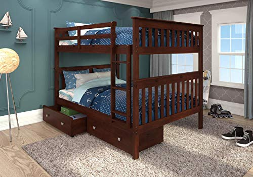 Donco Kids Mission Bunk Bed Dark Cappuccino/Full/Full/W/Dual Under Bed Drawers