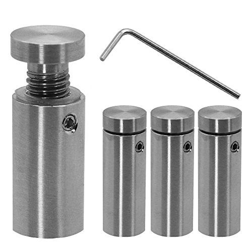 Distanziatore distanziale Muro Spacer Plug in acciaio inox fissaggio montaggio per vetro acrilico Ø 1,6cm indoor outdoor, variant:4 Stück - 1.6 cm x 4 cm