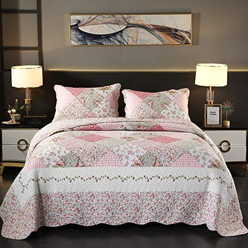 Qucover Patchwork Tagesdecke 220x240 cm Rosa, Gesteppte Bettüberwurf Sofaüberwurf aus Baumwolle, dünne Sommerdecke Steppdecke für Mädchen/Frau, mit Kissen Set zweiseitiges Design
