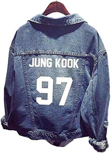 Formesy Unisex BTS Jeansjacke für Army BTS KPOP Hoodies Kapuzenpullover Suga Jin Jimin Jung Kook J-Hope Rap-Monster V (Bleu Jungkook)
