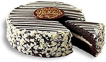 Bake Me A Wish Black and White Mousse Cake w/Whipped Buttercream, Chocolate Cream and Chocolate Fudge Frosting - Happy Birthday