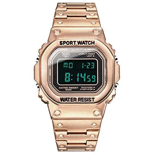 AYDQC Cuadrado de Moda Reloj Digital Resistente al Agua Pareja Deportes Hombre Mujer Reloj Digital clásico Estudiante al Aire Libre del Alpinismo del Reloj electrónico fengong (Color : Silver)