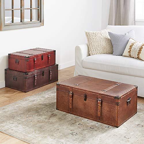Deco 79 Large Brown, Burgundy, Tan Leather  Iowa