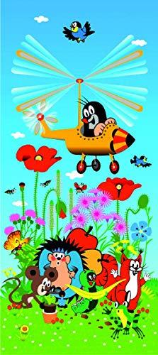 1art1 Der Kleine Maulwurf - Krtek and His Plane Vlies Wand-Foto-Poster-Tapete | Moderne Dekoration Wand-Deko Wohnzimmer Schlafzimmer Büro Flur 202 x 90 cm