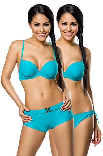 Vintage Push-Up Bikini set met 2 broekjes Panty - 3-delig Drager badpak turquoise maat S-XL (12029) (L).
