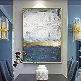 Pintura Al Óleo Pintada A Mano Pintura Abstracta Pintada A Mano Hoja De Oro Luz Dorada Lujo Pintura ...