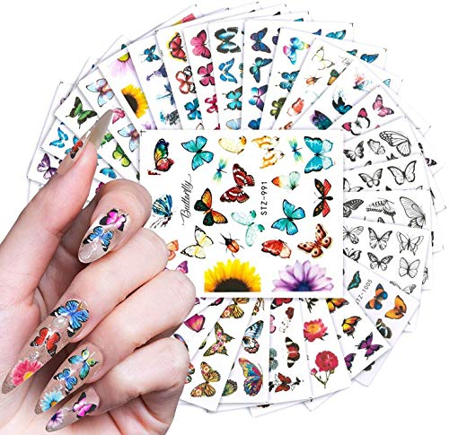 BFY 30 PCS Butterfly Nail Art Decals Sticker Colorful Printing Butterflies for Nails Art Design Water Transfer Decals Butterfly Nail Art Foil Sticker French Romance Butterfly Acrylic Nail Art Supplies