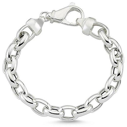 Vinani Armband Fiorentina Design massiv beweglich längliche Glieder Ösen robust glänzend 20 cm Sterling Silber 925 Italien 2AB6