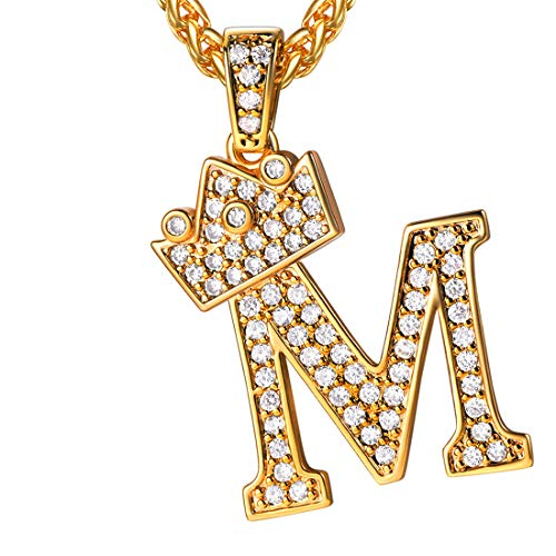 U7 Ice Out Majuscule/Capital Letter M with Crown Pendant & Resizable Wheat Chain Necklace, Gift for Men/Women, 18K Gold Plated Full Cubic Zirconia Jewelry Trendy Alphabet Necklace, P3455K