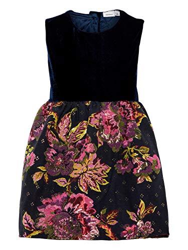 NAME IT Mädchen Samtkleid mit Brokatrock 13158338, Dark Saphire, Gr.86