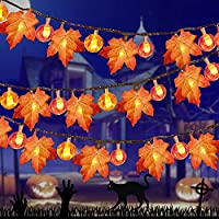 Frestar 20Ft/ 40 LED Maple Leaves and Pumpkin Light for Halloween Decorations