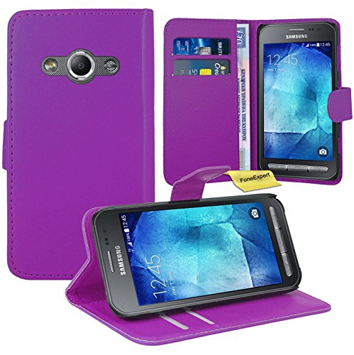 Produktbild FoneExpert® Samsung Galaxy Xcover 3 Handy Tasche,  Wallet Case Flip Cover Hüllen Etui Ledertasche Lederhülle Premium Schutzhülle für Samsung Galaxy Xcover 3 (Lila)