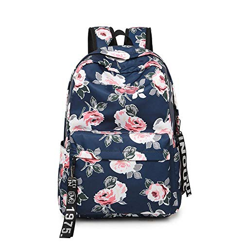 JLFDHR Fashionable Women's Backpack, Waterproof Nylon Floral Shoulder Bag, Girl Retro School Bag, Laptop Bag, Travel Rucksack, Handbag Bluewithribbon