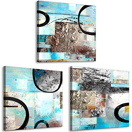 decomonkey Bilder Abstrakt 90x30 cm 3 Teilig Leinwandbilder Bild auf Leinwand Vlies Wandbild Kunstdruck Wanddeko Wand Wohnzimmer Wanddekoration Deko Modern