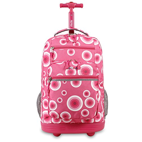 J World New York Rolling Backpack Laptop Bag with Wheels, Pink Target, One Size