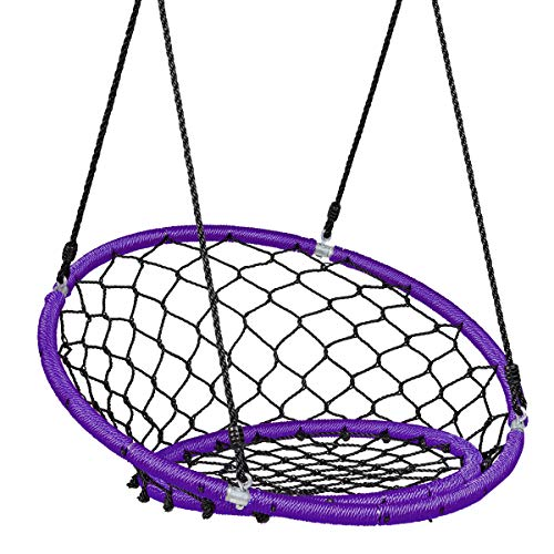 Costzon Web Chair Swing, Kids Tree Swing Set Net Hanging Swing Chair with Adjustable Hanging Ropes and Durable Steel Frame, Kids Play Equipment Great for Park Backyard (Purple)