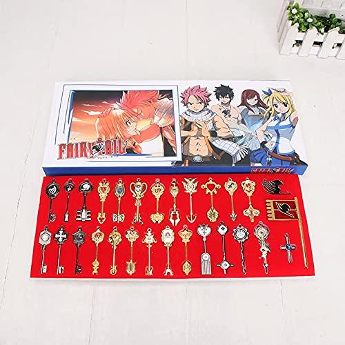 28 pièces/Ensemble Anime Fairy Tail Cosplay Figure Lucy clé Porte-clés échelle Rose Tatouage Heartfilia Signe du Cadeau de pendentifs en Or Zodia