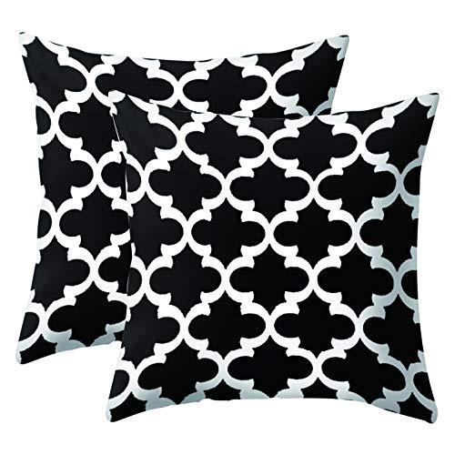 JOTOM Schwarz Weiß Kissenhülle/Geometrisches Muster Kissenbezug 45x45 cm für Kissen Sofakissen/Sofa Kissen und Dekokissen/Deko Kissen