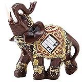 Hilitand Lucky Riqueza Estatua de Elefante Escultura Feng Shui Grano de Madera 3 Estatuilla Decoración de Escritorio En Casa Regalo(M)