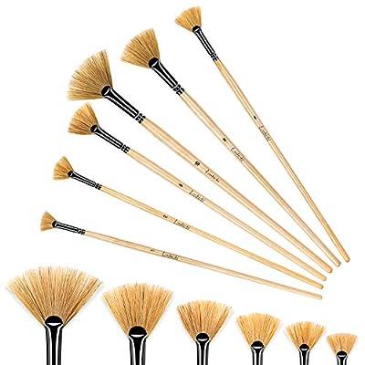 Fan Brush Set Artist Paint Brushes 6pcs White Bristles Fan Paint Brushes Artist Soft Anti-Shedding Profession Artist Oil Acrylic Painting Brush Set