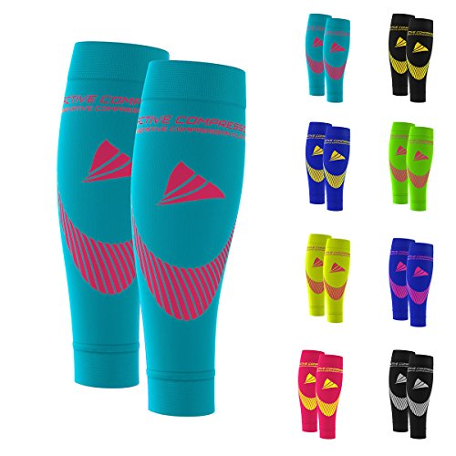 ACTIVE COMPRESSION Calf Sleeves - Extra Strong (türkis/pink, M)
