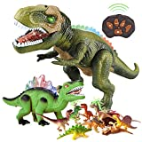 BFUNTOYS Remote Control Dinosaur, Walking Dinosaur and 9 Dinosaur Figures Toys for Kids 3 4 5 6 7 8+Years Old Boys with Dance&Fight Mode, Roar&Light,Big Robot T-Rex Toy Electronic Dinosaur for Toddler
