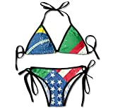 Swimsuit USA Brazil Flag Womens Wrap Top Bottom Bathing Suit Bikini Swimwear Two Piece Sexy Swimsuit One Size