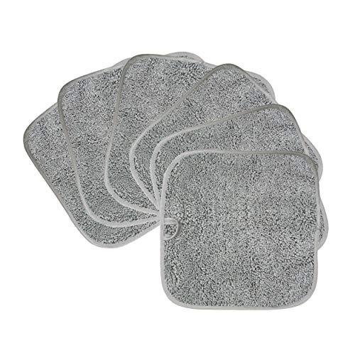 Polyte - Toalla facial desmaquillante de microfibra superabsorbente - Hipoalergénica, sin elementos químicos - Gris- 20 x 20cm - Pack de 6